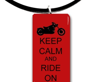 touring, motorbike, chopper, Keep Calm and Ride on, Motorcycle riding, glass tile pendant, biker chick, motor, biker, ride,rider,