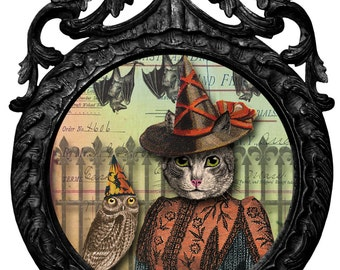 Halloween Card | Victorian Halloween | Happy Halloween | Blank Card | Vintage Style | Grey Tabby