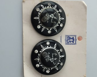 1950s Vintage SIAM Clip Earrings Black Plastic with Rhinestones RARE Deadstock