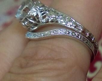 Antique Engagement Ring Set - Old EuropeanCut Engagement Ring