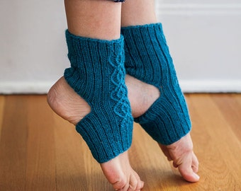 Yoga socks, knitting pattern - Breathe - Double Cable Yoga Socks knitting pattern instant download