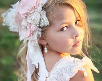 "Stunning flower headband deluxe double. ""Arriana's Rose Garden"" headband Vintage Lux Rose Blush pinks & Ivory Cream headband"