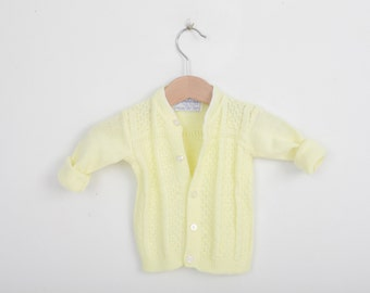 Vintage Knit Cardigan Sweater in Lemon Yellow
