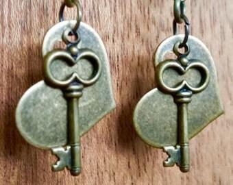 Antiqued brass heart earrings