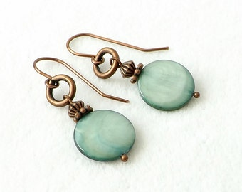 Green Earrings, Sundance Style, Seafoam Green Earrings, Pearl Earrings, Copper Earrings, Boho Jewelry, 2017 Panetone Color, Gift for Her