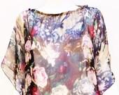 Silk Chiffon Top Beige Floral Digital Print