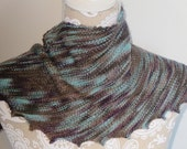 Hand knit turquoise and brown hitchhiker scarf