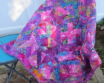 Bohemian Gypsy Pink & Purple Batik Baby Quilt Kiss in the Middle