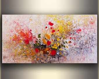 Oil painting Flowers ORIGINAL art Abstract Painting wall art Colorful Painting with texture, Abstract art home decor wall hanging