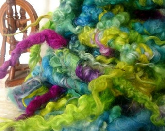 Super bulky lockspun artyarn, hand-dyed Teeswater lockspun textured handspun yarn - FLORA ooak