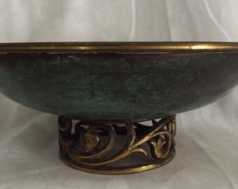 Oppenheim Brass Bowl with Filigree Pedestal Hand Made in Israel