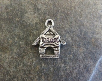 8 Dog House Charms with Top Dog Bone Over Door In the Dog Houses Silver Tone Dogs Charm PLEASE Read Item Details 17x19.5 mm