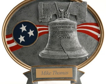 Engraved Liberty Bell Resin Plaque