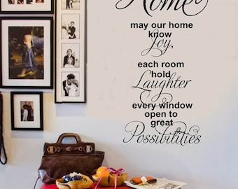 SALE HOME May it know Joy Laughter Possibilities - Family Vinyl Wall Decal -  Entryway Vinyl Lettering 39+ Colors