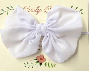 White Bow Headband, Baby Headbands, Baby Girl Headbands, Infant Headbands, Baby Bow, Infant Bow, Girl Headband