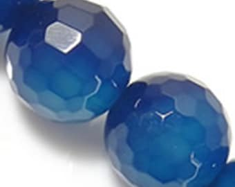 15 inch Natural Blue Agate Gemstone Beads faceted 10mm(32 beads)-7204J