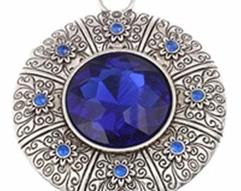 1pc 66x57mm zinc alloy pendant with glass cabochon -10322