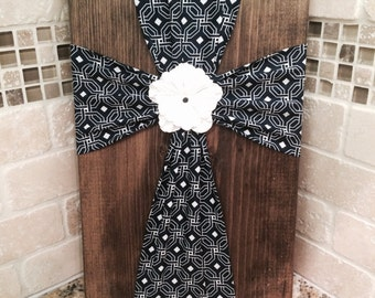 SALE Wall Art - Fabric Cross on Wood Plaque with Flower Embellishment- Navy Blue