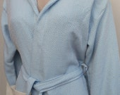 Ice blue colour diamond patterned Turkish soft cotton hooded bathrobe for women or men.