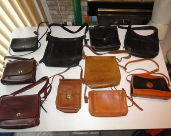 Lot Of 10 Vintage Leather Bags, Dooney & Bourke, Galco, 8 COACH Bags (9870, 0105-943, 9930, 9927, 9060 and 3 Pre Creed New York City Bags)