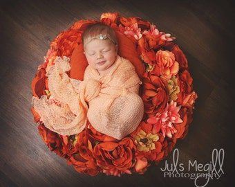 Peach RTS Stretchy Soft Newborn Knit Wraps 80 colors to choose from, photography prop newborn prop wrap
