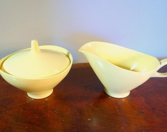 Vintage Melmac, Melamine, Boontonware cream and sugar set, butter yellow