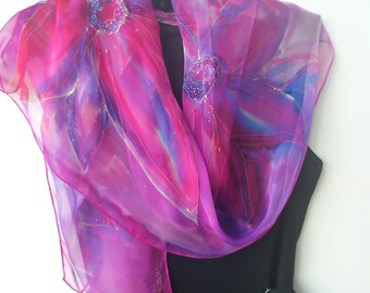 Purple Chiffon Scarf for Ladies. Flowers Hand Painted in Purple, Magenta, Fuchsia, Pink, Blue. Long 18 x 71 inch Scarf.