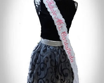 White Lace - Customized - Embroidered  -  Sash