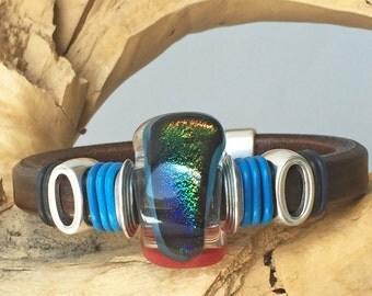 Glass Leather Bracelet, Fused Leather Bangle