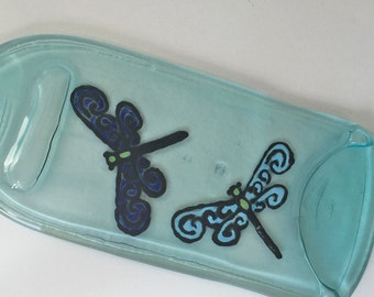 HandPainted Cheese Tray, Custom Cheese Tray,  Dragonfly Decor, Flattened Wine Bottle, Bar Deco