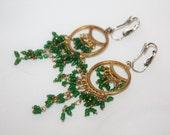 Vintage Boho Green Earrings, Fringe Drop Dangle , Boho Jewelry, Chandelier Earrings 1970s Jewellry