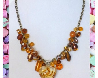 Valentine's Day - Amber Heart Necklace
