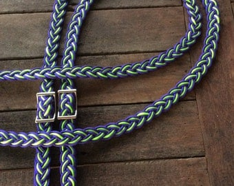 Handmade Reins - Purple and Green