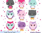 INSTANT DOWNLOAD,  aqua and pink owl clipart for personal and commercial use