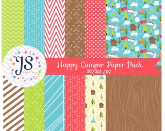 INSTANT DOWNLOAD, camping digital paper for commercial use or personal use