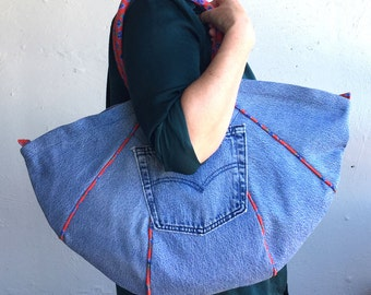 Harlequin Big-Bag in denim with red & blue floral lining