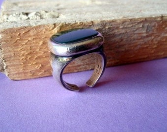 Vintage Green Agate Silver Ring.
