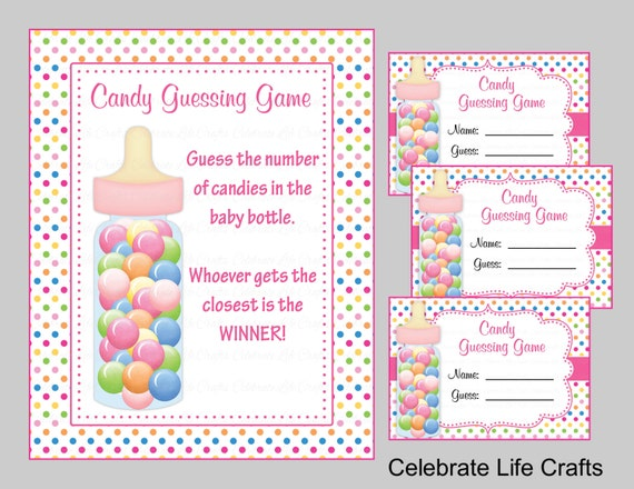 Baby Shower Candy Bottle Guessing Game   Sign And Tags   Baby Girl Owl Baby  Shower Theme   Candy Jar Game   Rainbow Polka Dots B2009
