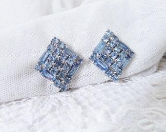 Vintage Blue Rhinestone Clip Earrings Unsigned