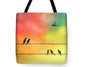 Family of Birds Tote Bag, Flying Bird Art, Birds on a Wire Art Bag, Bird Taking Flight, Canvas Tote, Bookbag, Colorful School Bag, Purse