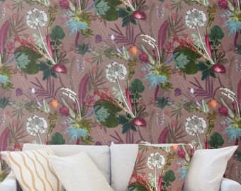 Floral Botanical Wallpaper, Tropical Dusk Design, Bold Home Décor, Feature Wall