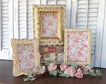 3 Ornate Gold Table Top Picture Frames - 5x7 4x6
