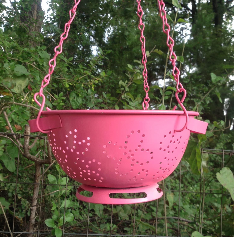 Vintage Colander Hanging Planter Pink Metal Yard Art