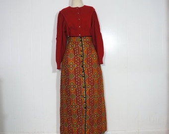 Quilted Skirt MEDIUM 1970s Maxi Skirt Button Front Fall Autumn Jewel Tone Paisley Cotton Dark Red Gold Green Boho Festival Gypsy Folk LeVoys