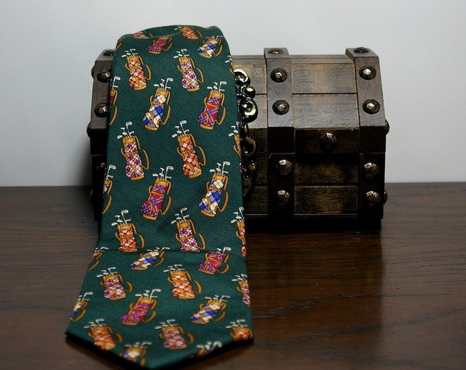 Novelty Golf Necktie by Brooks Brother Vintage Green Silk Tie Golf Clubs & Golf Bags Print Golf Lovers Tie Fathes Day Gifts for Dad USA NWT