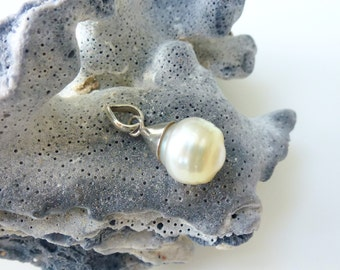 Pearl Pendant Ivory Pearl Sterling Silver Necklace Pendant Real Pearl Pendant Ivory Pearl Pendant