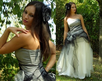 Handmade Wedding Dress - Sexy Modern Romantic Black and White Tulle Gothic  - Priscilla
