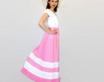 70s Chessa Davis skirt. Pink white dots skirt. Maxi skirt. Peasant skirt. White lace. Summer skirt. Boho skirt. Folk skirt