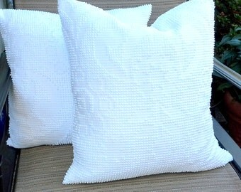 White Chenille  pillow cover made from a vintage bedspread, custom sizing available, envelope enclosure, soft and cottage chic, cabin decor