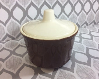 Brown Lidded Sugar Bowl Vintage Pottery